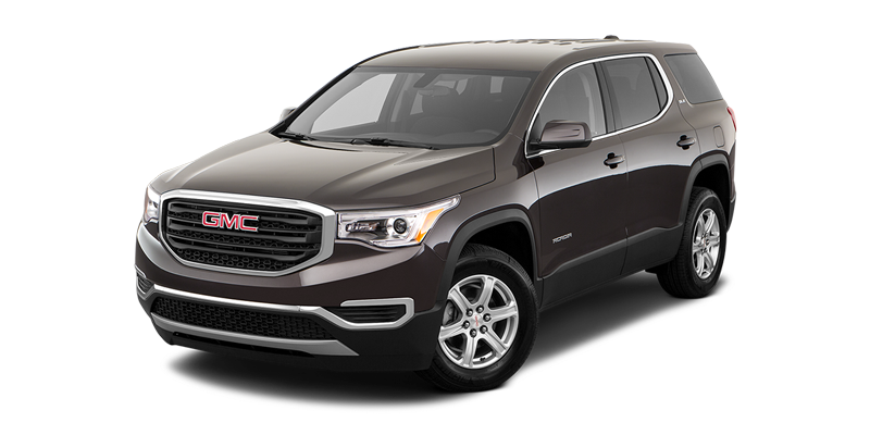 2019 Acadia in a dark exterior paint job against a white space