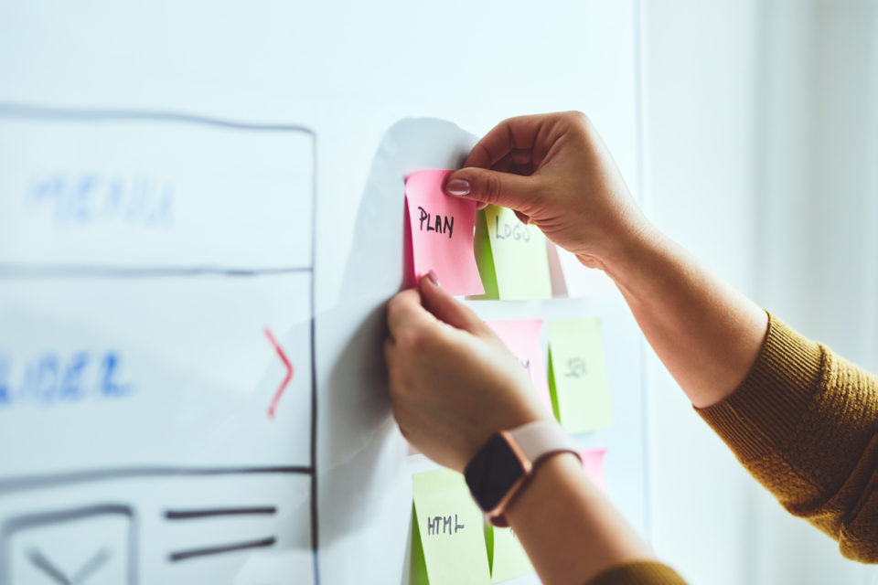 Woman planning her goals on a whiteboard