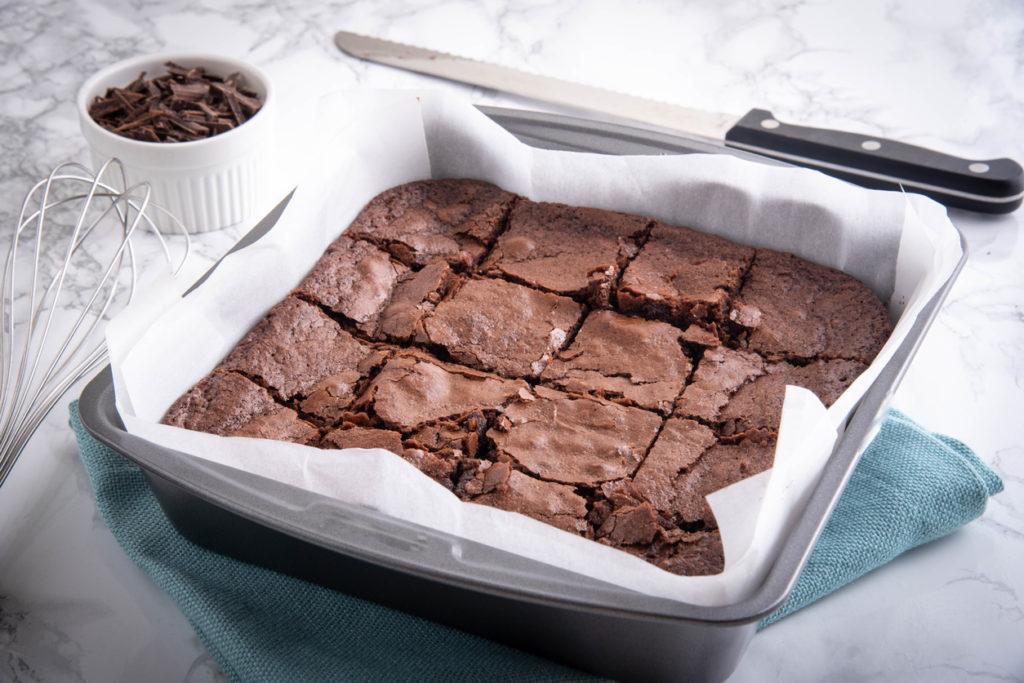 chocolate brownies in metal pan