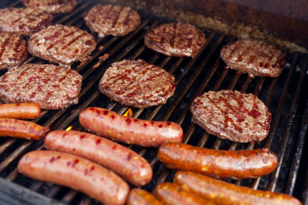 Barbeque Grill with Hamburgers hot dogs and sausage