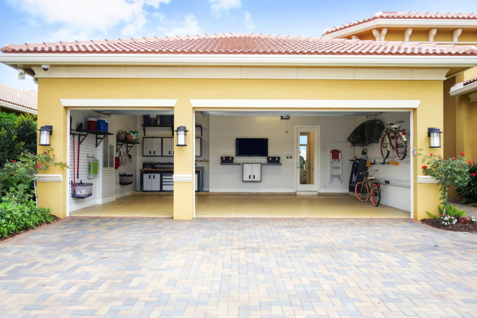 Well organized clean three car residential garage
