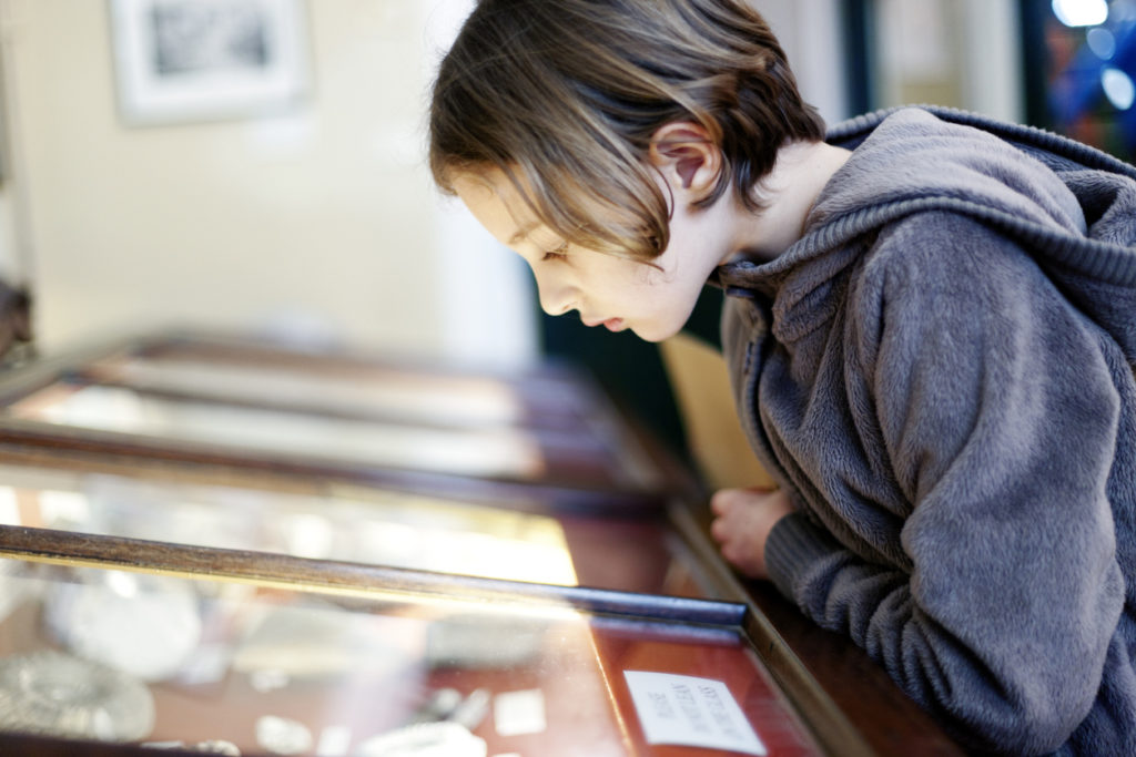 A young girl looking at an exhibit in a glass display case in a museum,